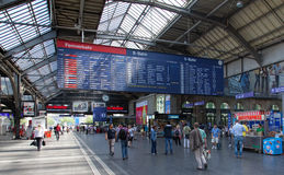 Departure board of the Zurich Main railway station Stock Photography