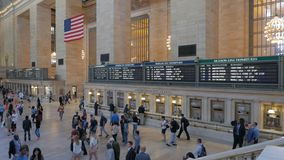 Train departure board in Grand Central Station, NY. The departure boards inside Grand Central Station in New York stock footage