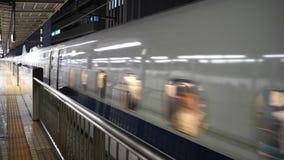 Departure of bullet train from Shin Yokohama station. Kanagawa,Japan-May 2, 2018 Departure of bullet train from Shin Yokohama station stock footage