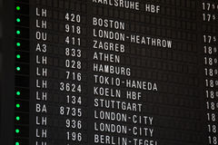 Departure chart at the airport. A departure chart at the airport Stock Photo