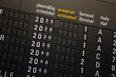 Departure chart at the airport. A departure chart at the airport Stock Images