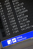 Departure chart at the airport Stock Photography