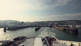 Departure of crossing Ferry in Dover Port stock video footage