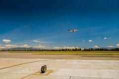Departure flight Avianca airplane cruising the sky. BOGOTA, COLOMBIA - MARCH 07, 2015: Departure flight Avianca airplane cruising the sky at international royalty free stock photo