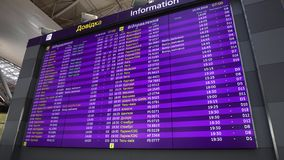 Departure Flight Schedule Board In Kiev Airport On Ukrainian English Languages. KBP Boryspil International Airport, Kiev, Ukraine, April 14 2018: Departure stock video