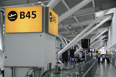 Departure gate at Heathrow airport Royalty Free Stock Photo