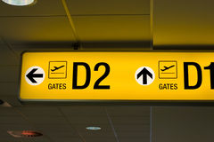 Departure gate sign in the airport Royalty Free Stock Photos