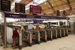 Departure gates. At the Victoria train station in London, UK royalty free stock image