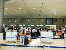 The departure hall of the Ben Gurion international airport. Chec Royalty Free Stock Photography
