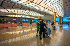 Departure hall at Changi airport with check-in zone Royalty Free Stock Photos