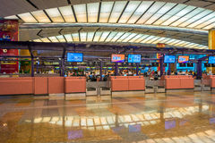 Departure hall at Changi airport with check-in zone Stock Photography