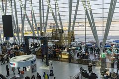 BUDAPEST, 10 OCTOBER 2017 - Ferihegy airport in Budapest, Hungary. Departure hall of Ferihegy airport in Budapest, Hungary. Travelers waiting to board their Royalty Free Stock Image