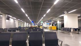 Departure hall in the Frankfurt airport. FRANKFURT AM MAIN, GERMANY- departure hall. With 38 million passengers per year it is one of the most important airport royalty free stock photography