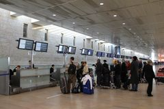 Departure Hall. Registration of tickets Stock Photography