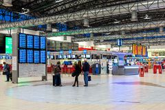 Departure hall at Vaclav Havel Airport in Prague. Stock Photo