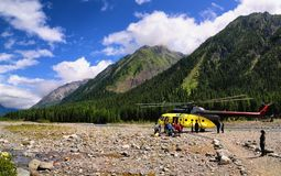 Departure from a helicopter on Shumak sources Stock Image