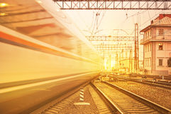 Departure of high speed train. Royalty Free Stock Image