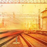 Departure of high speed train. Stock Photo