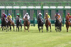 Departure of horses racing Stock Photo