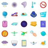 Departure icons set, cartoon style. Departure icons set. Cartoon set of 25 departure icons for web isolated on white background Royalty Free Stock Image