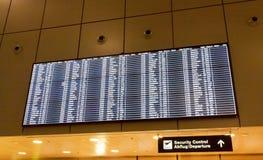 Departure information board at Airport Zurich Stock Photo