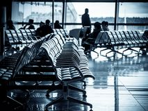 Departure lounge of an airport stock images