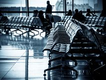 Departure lounge of an airport stock photos