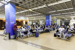 Departure lounge inside Gru Airport in Sao Paulo, Brazil. Royalty Free Stock Image