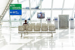 Departure lounge in the Suvarnabhumi International Airport in Bangkok Royalty Free Stock Image