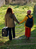 Departure (mother and girl) Royalty Free Stock Photo