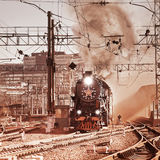 Departure of the retro steam train. Stock Images