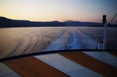 Departure. Santorini in the morning Stock Photo