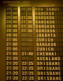 Departure schedule board in airport Stock Photo