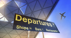 Departure sign and airplane in the sky. Departure sign and airplane in the blue sky Stock Image