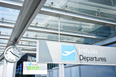 Departure sign at airport. With airplane Royalty Free Stock Images