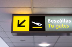 Departure sign at airport Stock Photos