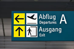 Departure sign at german airport Stock Photos