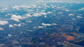 Departure from Singapore. Aerial view Singapore and Malaysia border area, view fom departing aircraft stock footage