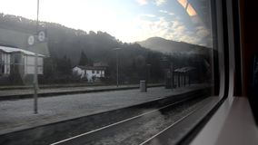Departure from the station from the train stock video