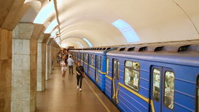 Departure subway train station Maydan Nezalezhnosti. Kiev, Ukraine - June 25, 2015: Departure subway train station Maydan Nezalezhnosti. Embarking passengers in stock video footage