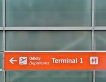 Departure terminal sign stock image