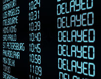 Departure Timetable. Delay - Closeup of Departure Timetable on Airport - Illustration stock illustration