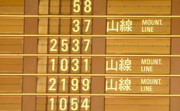 Departure timetable of train in Taiwan Stock Image