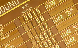Departure timetable of train in Taiwan Royalty Free Stock Photos