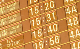 Departure timetable of train in Taiwan Royalty Free Stock Photography