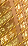 Departure timetable of train in Taiwan Royalty Free Stock Images