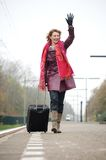 Departure Woman Waving Goodbye Stock Photography