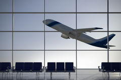 Departures airport terminal. Inside Terminal with plane shape taking off on background Stock Image