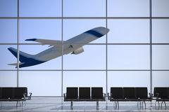 Departures airport windows. Inside Terminal with plane shape taking off on a sunny day Stock Photography