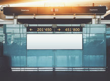 Departures and arrival informational billboard mock up in airpor Royalty Free Stock Images